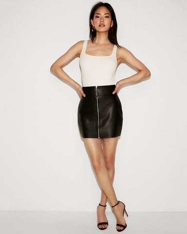 e9cf678ae Minus The) Leather O-Ring A-Line Skirt In Pitch Black | Express ...