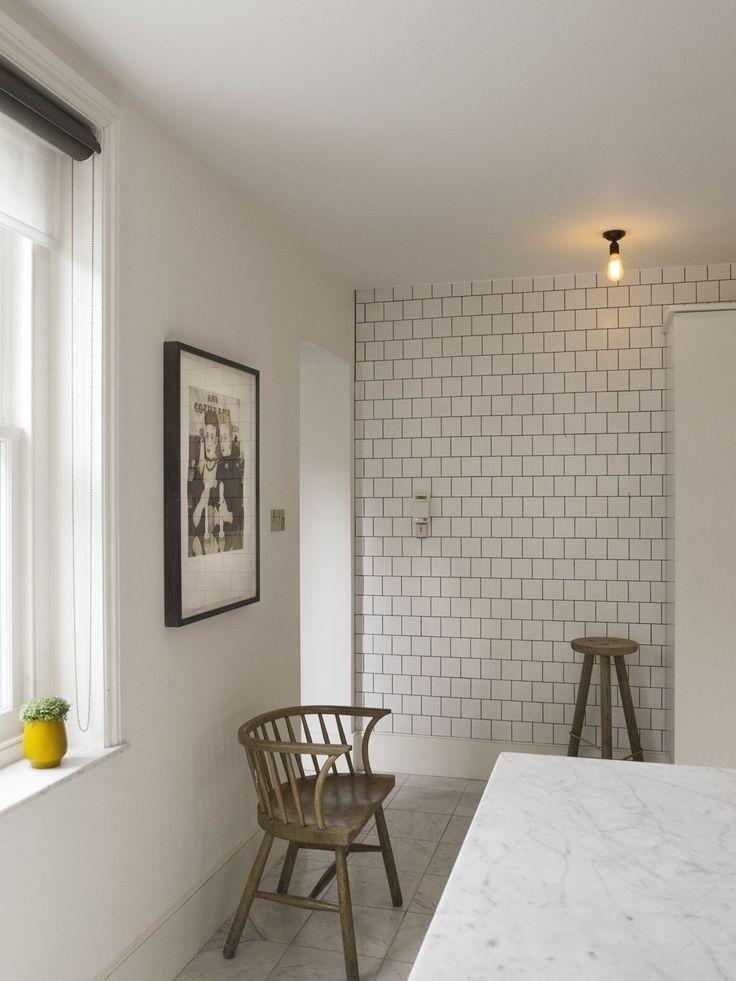 tile, marble, edison bulbKitchens, Vintage Chairs, Not Hills, Charles Mellersh, Ceiling Tiles, Interiors Design, Ceilings Tile, Subway Tiles, Grout