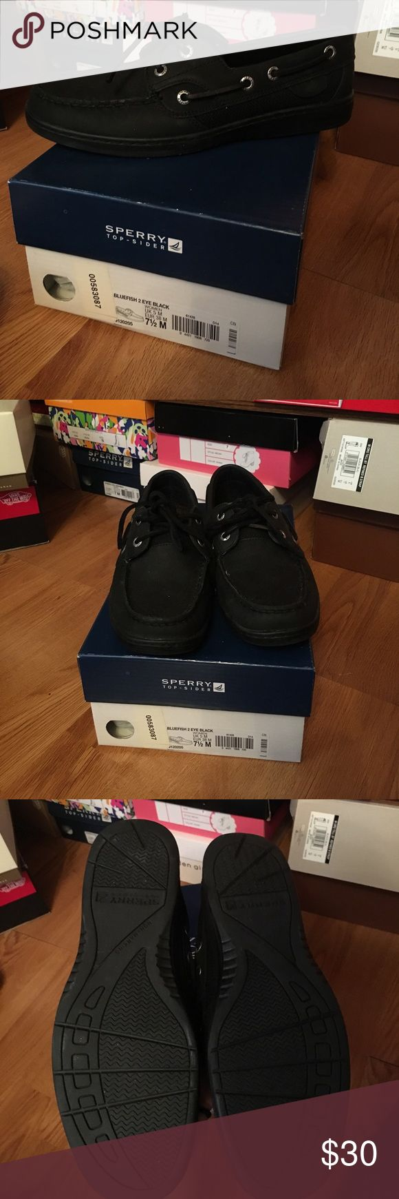 Black Sperry's Top Sider Boat Shoe All black. New. Fits 7 or 7 1/2 Sperry Top-Sider Shoes Sneakers