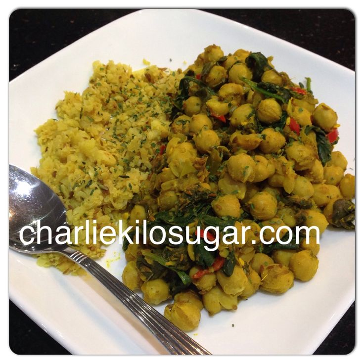 Chickpea curry and cauliflower rice