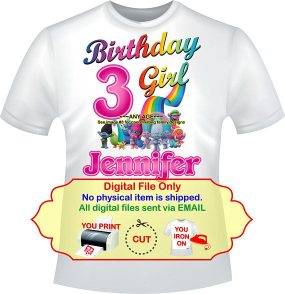 DIY Trolls Iron On Birthday Girl Mommy Daddy Shirt Transfer Party TROLLS8
