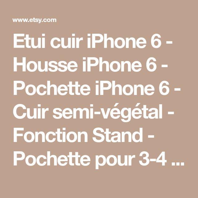 Etui cuir iPhone 6 - Housse iPhone 6 - Pochette iPhone 6 - Cuir semi-végétal - Fonction Stand - Pochette pour 3-4 cartes - BRUN