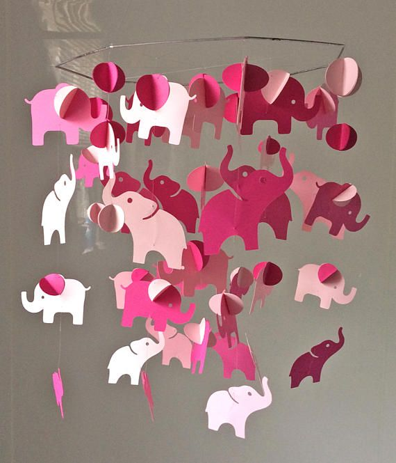 S.O. Baby Elephant Mobile. Paper Mobile. Paper chandelier.