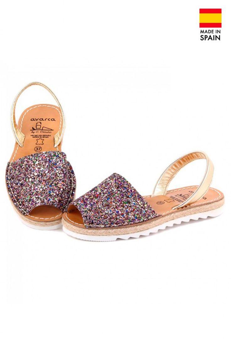 Sandale Avarca Menorquinas de dama din piele naturala, Glam, multicolor