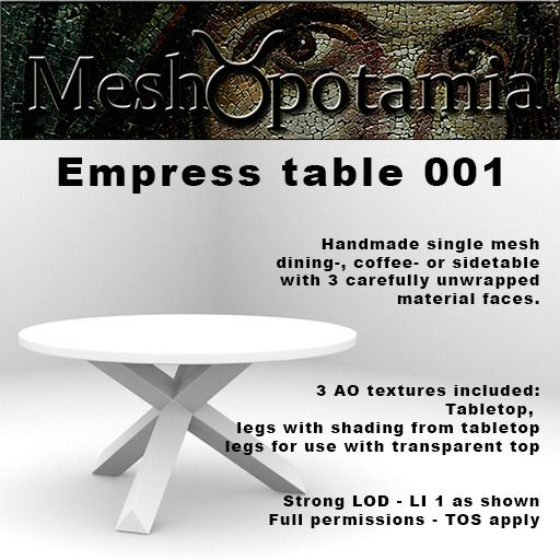 Meshopotamia Empress Table 001 w AO Textures