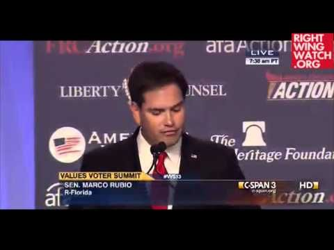 """Marco Rubio's Comments on Jesus That Made The Crowd Erupt -   Received a standing ovation when he declared, """"I believe Jesus Christ is God."""" -  """"Today we see a rising tide of intolerance in America, intolerance towards those who cherish these value."""""""