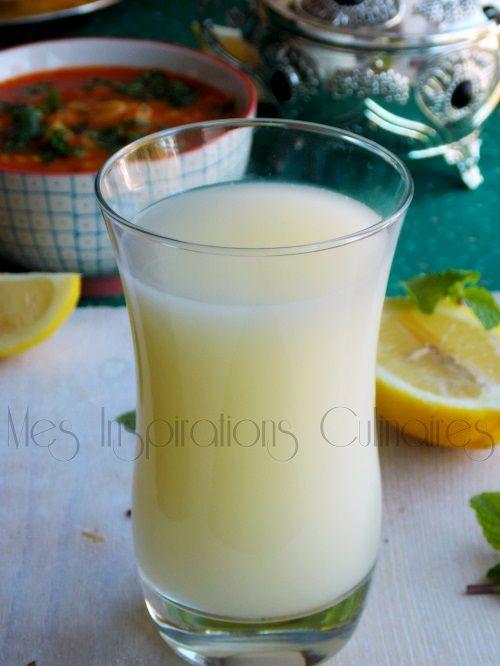 CITRONNADE ( CHERBET) / 4 citrons,2 litres d'eau, Sucre (100 à 150 g), 3 CS de lait, 2  ou  3 CS d'eau de fleur d'oranger ( voir le site pour + d'infos)