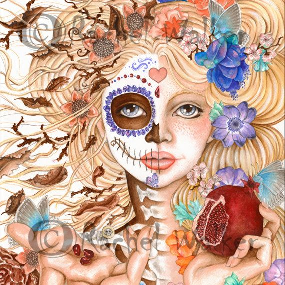 8x10 matted to 11x14 Persephone, Day of the Dead, Blonde, Flowers, pomegranate, seeds, Death, Greek Myth  painting by Rachel Walker on Etsy, $22.00