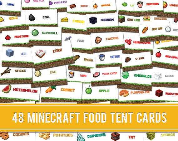 food labels 48 unique minecraft party food tent labels cards by
