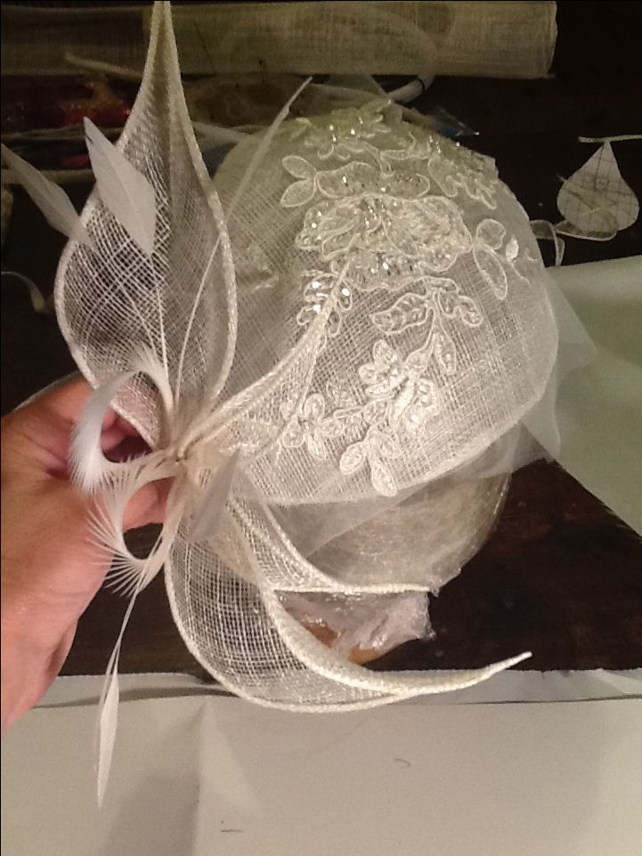 Teaching a student how to make a #bridal #headpiece www.millineryworkshops.com