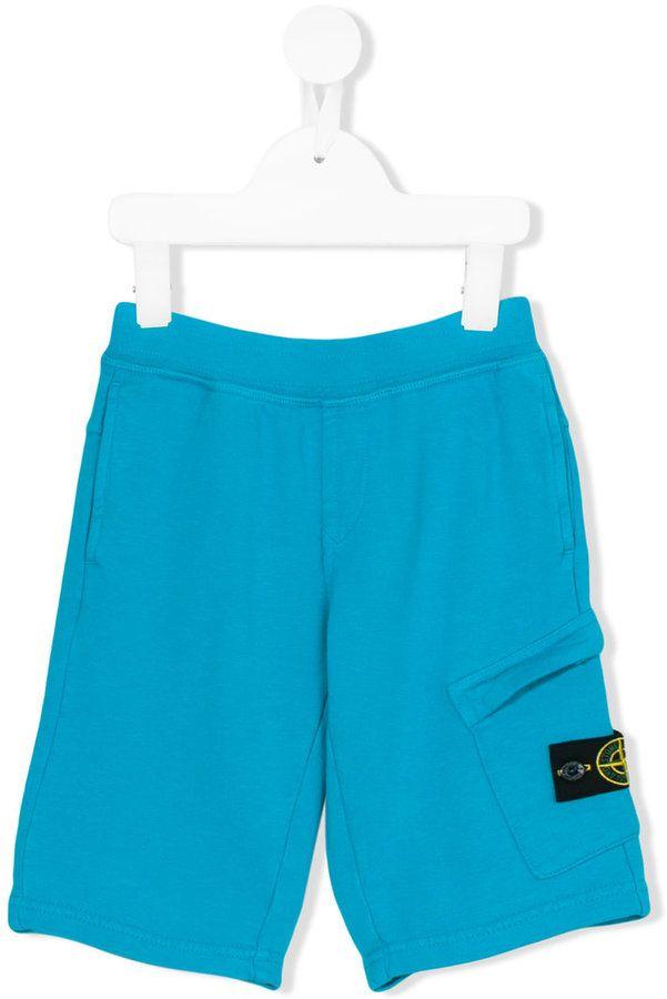Stone Island Junior logo patch bermuda shorts