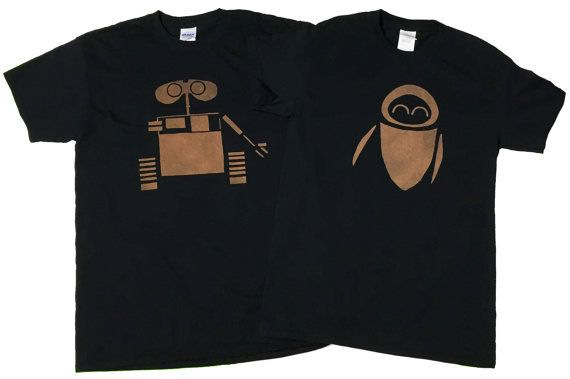Disney Wall-e and Eve Couples Bleached T-shirts by DanasJumble                                                                                                                                                                                 More