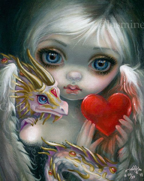 """""""A Dragonling Valentine"""" New! Hand-embellished Limited Edition Signed & Numbered Print on Canvas #01 of 25. Title: """"A Dragonling Valentine"""". My work can be found in collections and galleries throughout the world, and is featured in the books """"The Art of Faery"""" """"The World of Faery"""" """"Big Eye Art,"""" """"Gothic Art Now,"""" """"Vampire Art Now,"""" """"The Fantasy Art Bible,"""" the """"Oracle of the Shapeshifters, """"The Oracl..."""