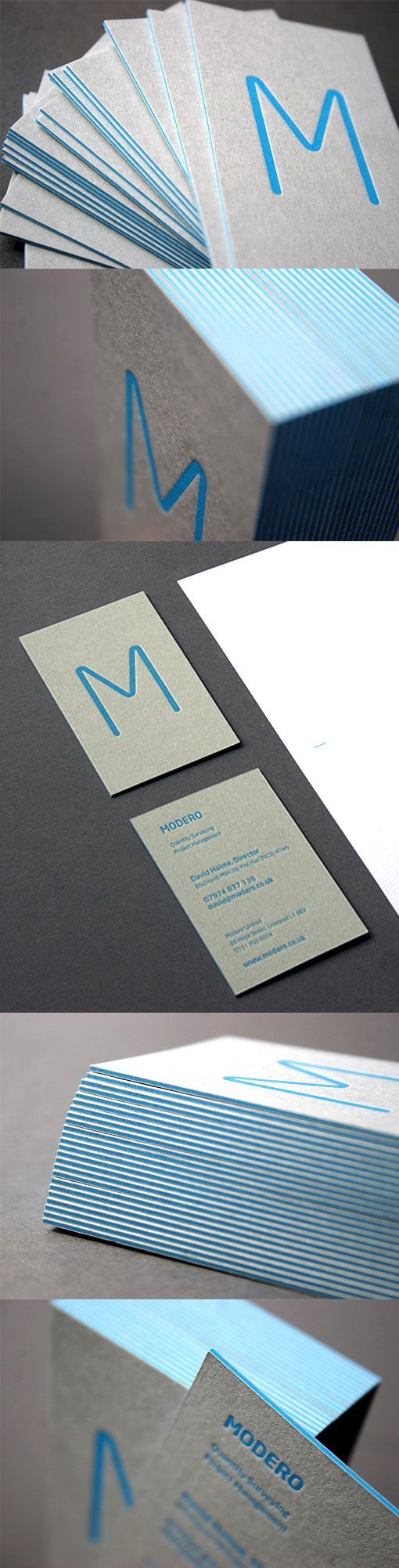 Minimalist Business Card Letterpress Printed On Recycled Card Stock
