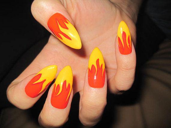 Long Stiletto Flame Fake Nails by NailCandyLondon on Etsy, £23.00