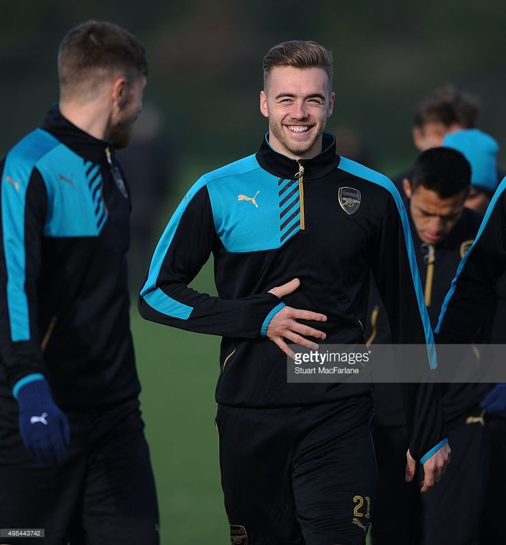 Calum Chambers of Arsenal during a training session at London Colney on November 23, 2015 in St Albans, England.