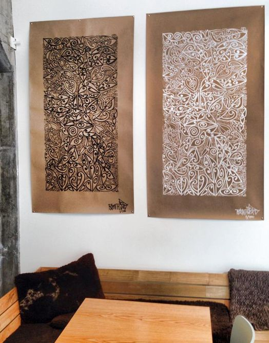 Artist Tracey Tawhaio beautiful Maori designs on brown paper
