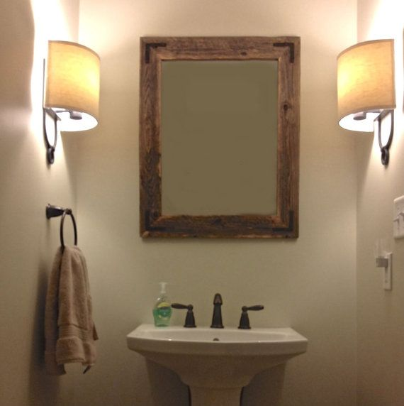 24x30 Reclaimed Wood Bathroom Mirror Hurd Honey Pinterest Home Powder And Rustic Modern