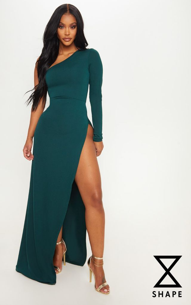 98076016d36 Shape Emerald Green Slinky One Shoulder Side Split Maxi Dress ...