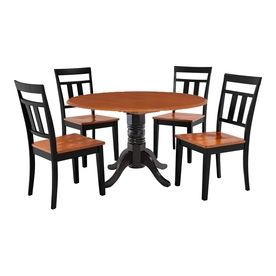 Mu0026D Furniture Burlington Black/Cherry Dining Set With Round Dining Table  Buwe5 Blc