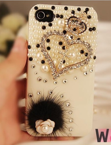 Apple iphone 4/4s iphone 5 Clear Phone Case Charms Handmade Blingbing Pearls Rhinestones Flowers Love Hearts Cross Crown