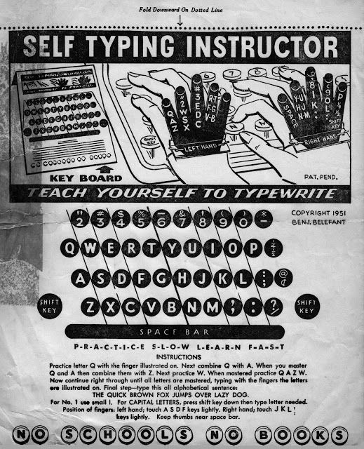 "Inside the case of a typewriter which arrived from the US was this 1951 sheet for a Self Typing Instructor (""No schools, no books""). I imagine this originally came with cardboard hand cutouts."