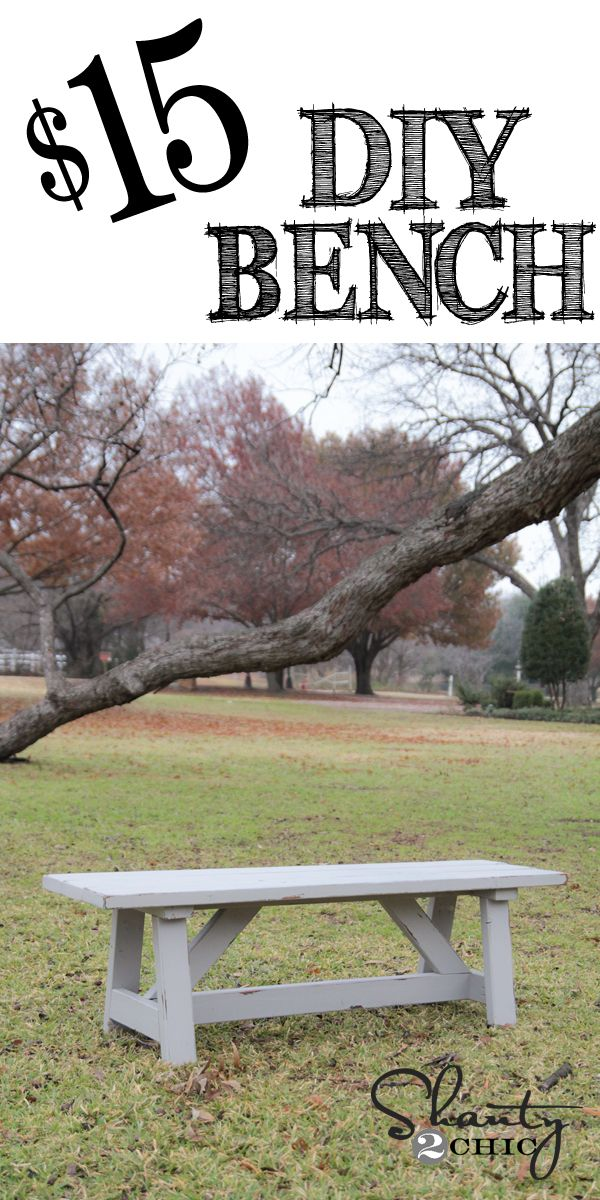 Easy DIY $15 Bench at www.shanty-2-chic.com // Perfect for indoor or outdoor!  LOVE it!