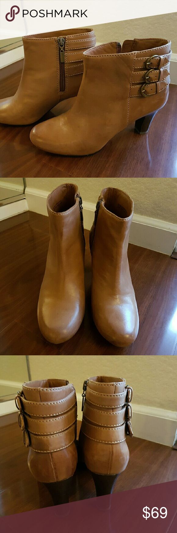 Clarks Artisan tan leather ankle boots In very good condition. Soft and comfortable. No trade. Clarks Shoes Ankle Boots & Booties
