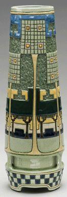 Vase, circa 1905–08, manufactured by Roseville Pottery (1892–1954), made by Frederick Hurten Rhead (1880–1942), Zanesville, Ohio,