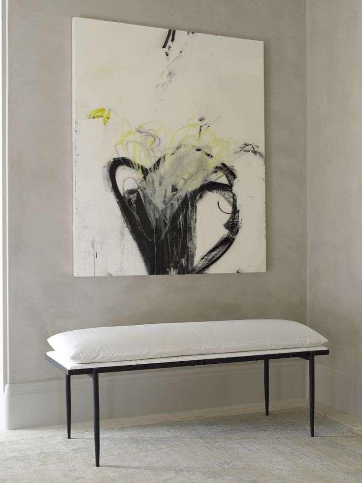 Contemporary Foyer Chairs : Abstract wall art upholstered white cotton bench