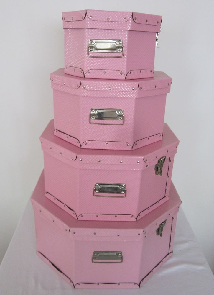 Pink Hat Box Storage Set of Four #NA #HatBox $45.