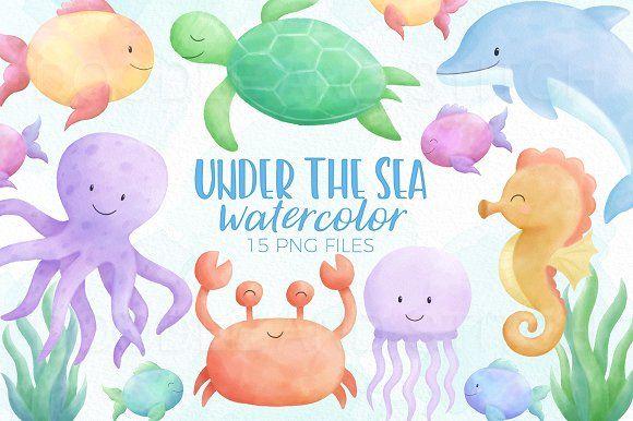 Under The Sea Watercolor Designs Sealife Watercolor Under The Sea Drawings Sea Drawing