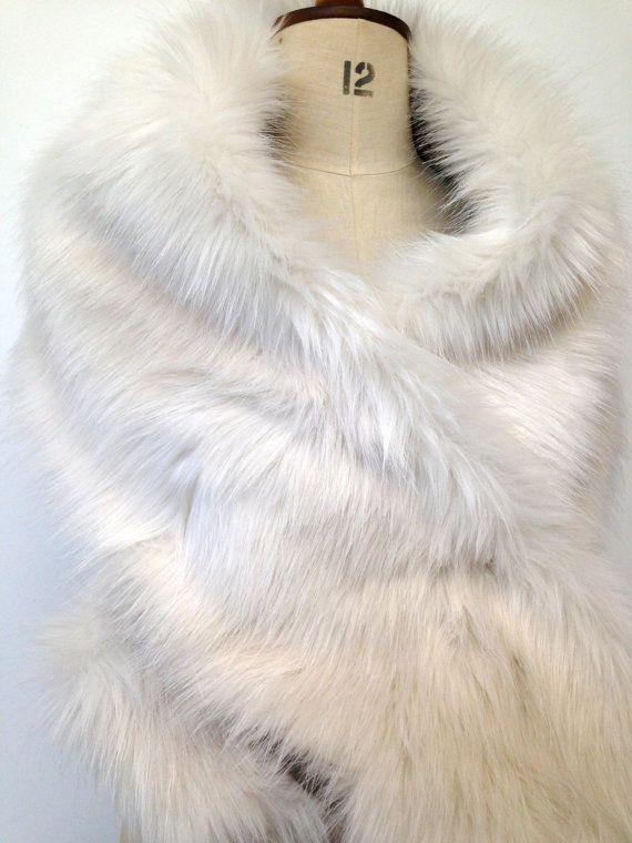 Scarf Faux Fur White Silver Fox Stole  Fur Shawl Wrap by Bteshome