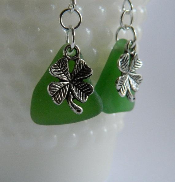 Kelly Green Seaglass Earrings with Shamrock Charm by JoyfulDsign, $13.00