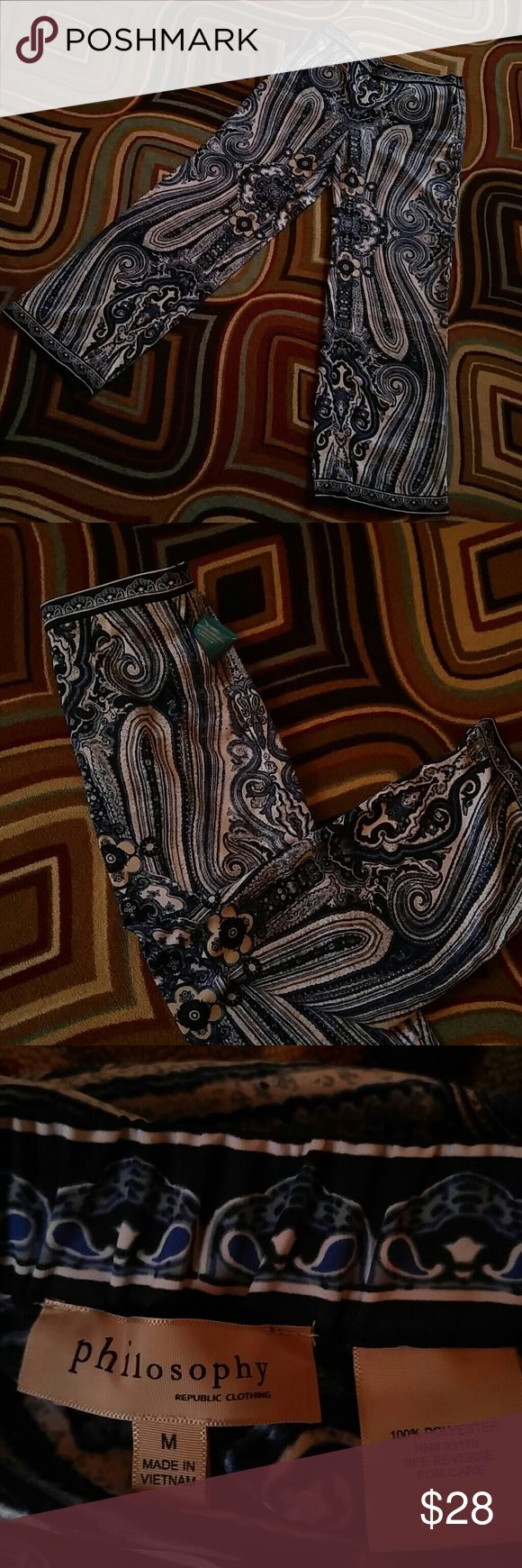 Curtis warnes butterfly chairs michigan artists gallery - Euc Pallazo Pants By Philosophy Gorgeous Blue And White Paisley Pants Side Zip Elastic In