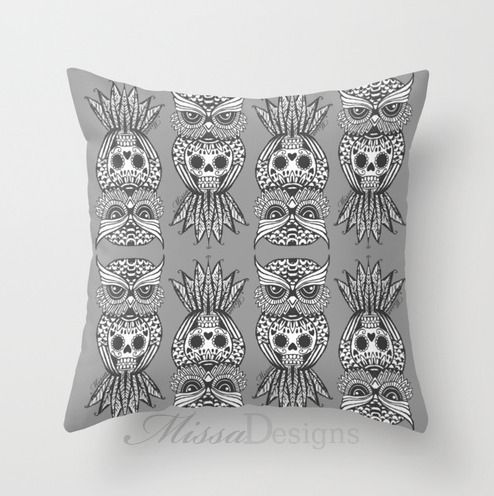 'Sugar Skull Hootle' cushion cover design Colourway: Grey with grey owl. Design by Missa Designs. Copyright 2013