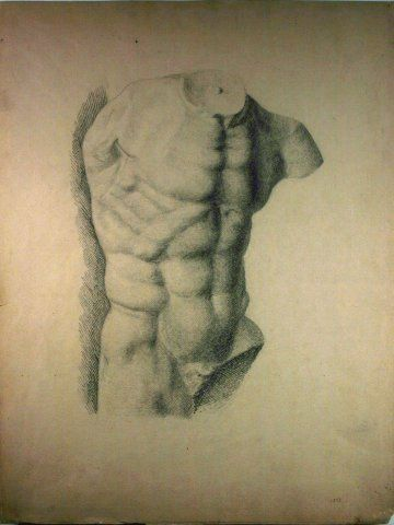 Untitled (Male Torso-Right Shoulder View), 1873, Carl von Marr, Museum of Wisconsin Art, 0137.