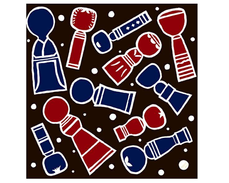 Kokeshi doll -Kokeshiki- Blue Furoshiki  #Japan #Japanese #Furoshiki #Tohoku #Kokeshi #Japanesedoll #Kokeshidoll #Traditional #Japaneseculture #Darkbrown #Illustration #art #Kawaii #Gift #Wrappingcloth #Cloth #Scarf #Wrap