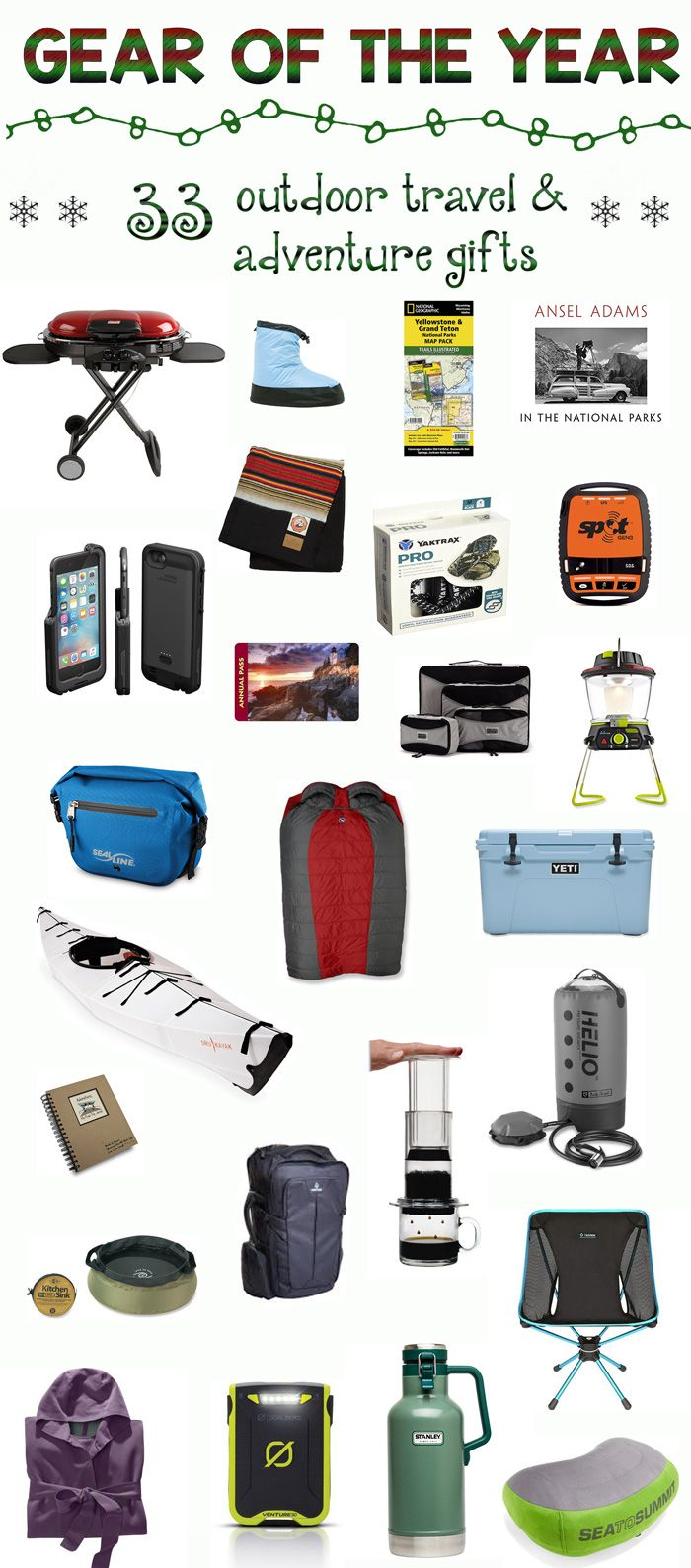 The ultimate holiday gift list featuring 33 awesome outdoor travel and adventure gifts for the special outdoor enthusiast in your life.