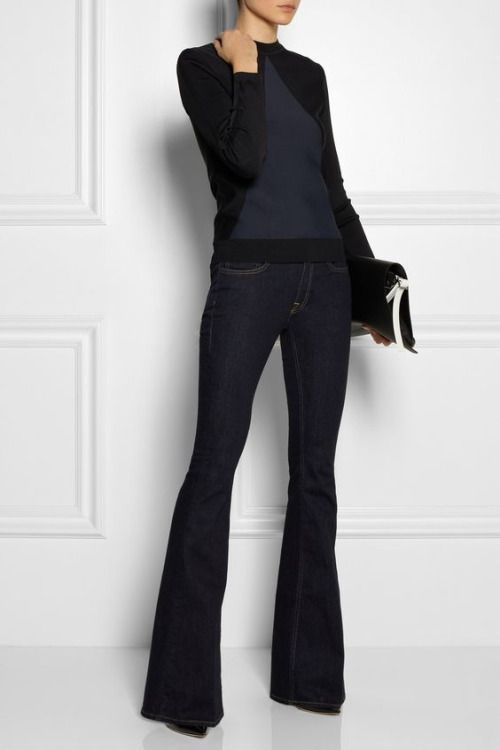 try a navy and black sweater over a dark wash flare leg jean. Meet my uniform. Love this on so many levels.