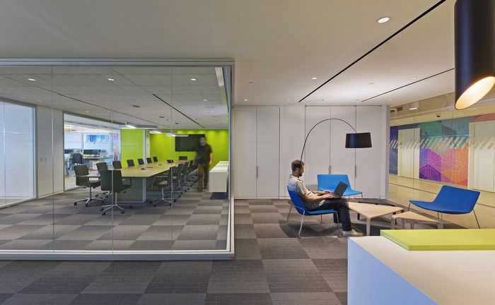 Optos architectural walls in an office design for a NYC based tech company