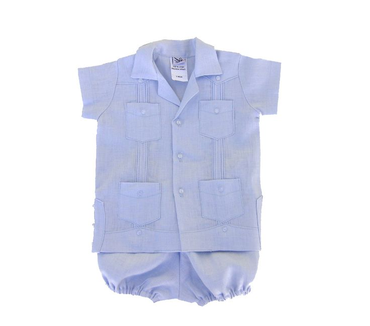 Boys guayabera in light blue also comes in white. Bubble for 3,6 and 9mos. www.abyskids.com