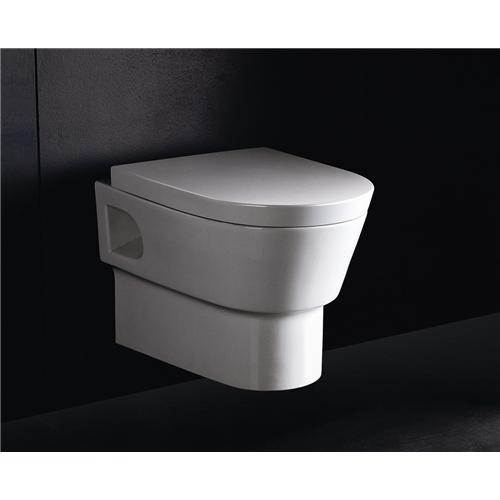 Wall Mounted Water Closet Is Modern And Allows Clear Floor Space