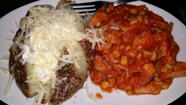 Bbq chicken, sweetcorn n tomato pasatta, with jacket potato, creme fraiche n cheese