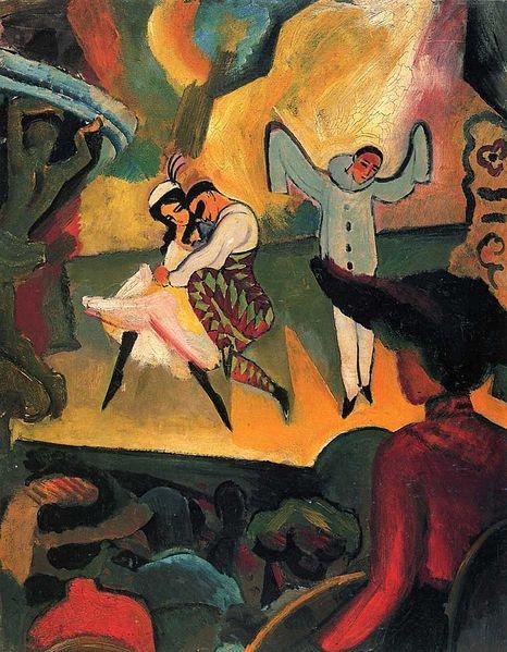 August Macke  (1887–1914) Russisches Ballett,1912. August Macke  (1887–1914) Russian Ballett,1912. Август Маке (1887-1914) Русский балет, 1912. August Macke(1887-1914)俄罗斯Ballett,1912年。