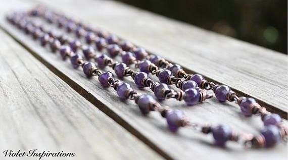 Amethyst Necklace / Wire Wrapped Jewelry / Copper Necklace / Long Beaded Necklace / Layering Necklace / February Birthstone
