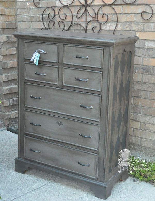 Masculine Painted Dresser Makeover using American Paint Company Freedom Road and Born on the 4th Cutting Edge Stencil harlequin pattern. by Vintage Charm Restored