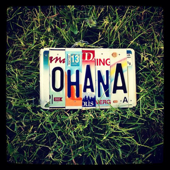 Ohana. License plate. Sign. Family. Decor. Hawaii. Beach decor. Hawaiian. Love. Kids. Family room. Sign. Custom. Dad. Aloha. Teen