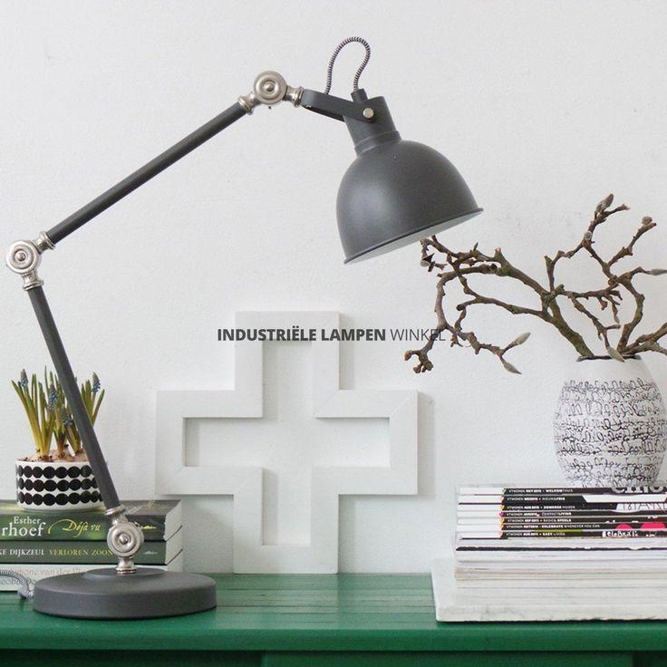 Industriële verstelbare bureaulamp antraciet grijs