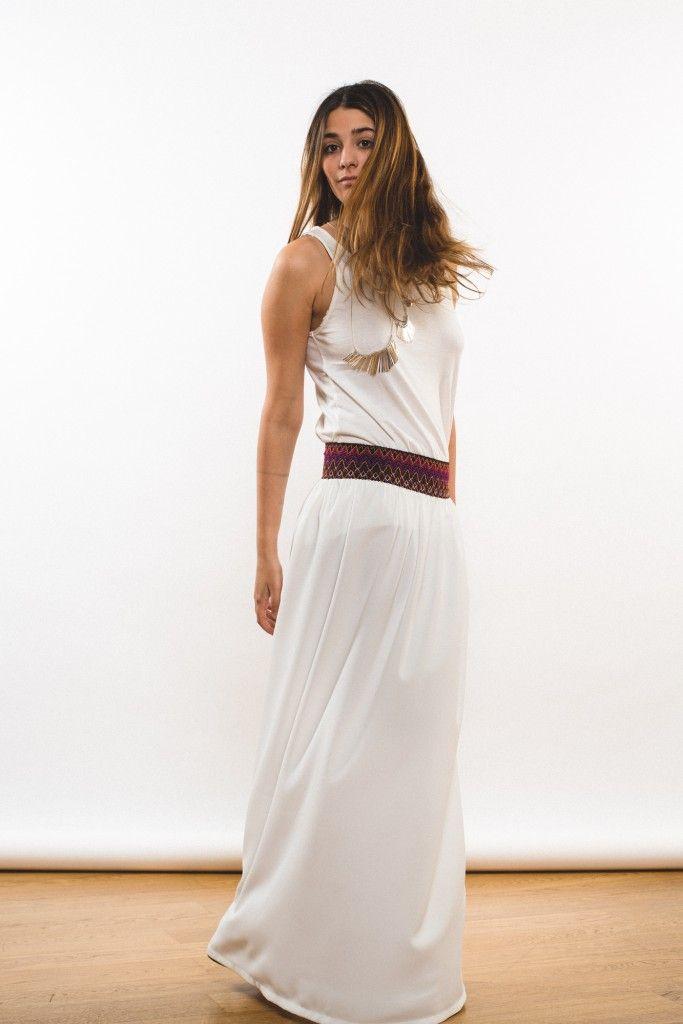 Falda larga blanca verano